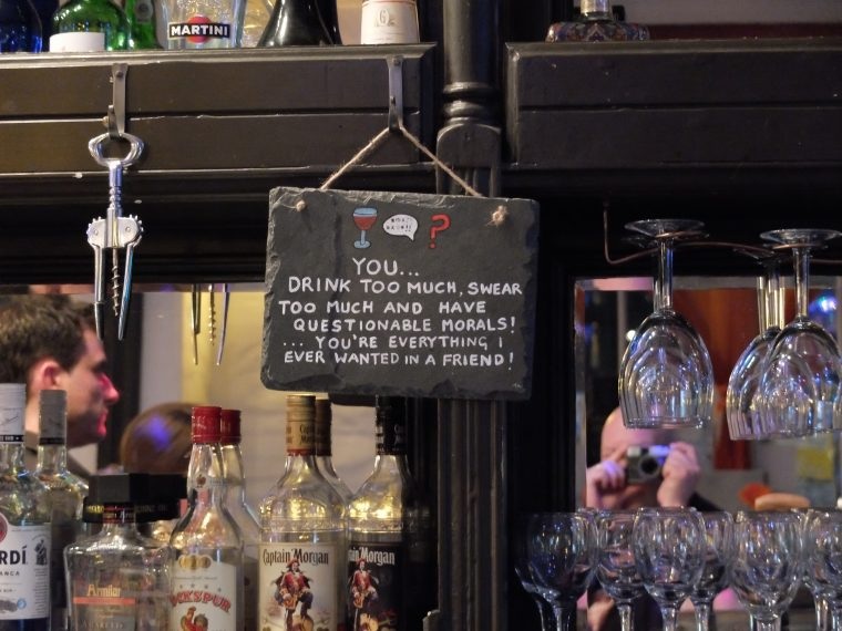 Sign behind the bar in Ilfracombe